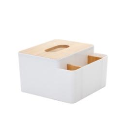 Stojan na vreckovky a písacie potreby biely drevo/plast