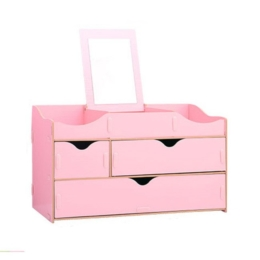 Prémiový stojan na kozmetiku s 3 zásuvkami a zrkadlom ružový