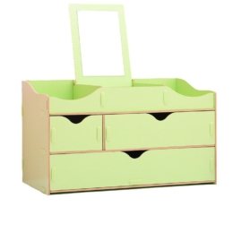 Prémiový stojan na kozmetiku s 3 zásuvkami a zrkadlom zelený