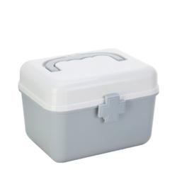 Plastová prenosná lekárnička sivá malá bez uzamykania