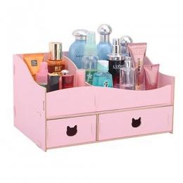 """Prémiový """"mačací"""" stojan na kozmetiku s 2 zásuvkami ružový"""