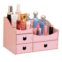 """Prémiový """"mačací"""" stojan na kozmetiku s 3 zásuvkami ružový"""